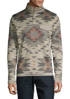 Lucky Brand Printed Long-Sleeve Fleece Pullover