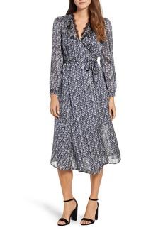 Lucky Brand Printed Midi Wrap Dress