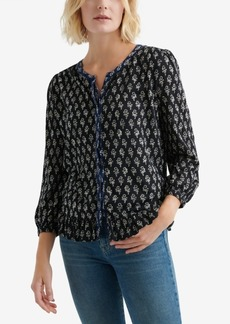 Lucky Brand Printed Peplum Button-Front Top