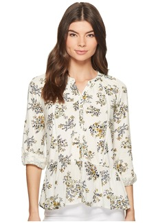 Lucky Brand Printed Peplum Button Up Top