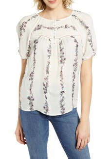 Lucky Brand Printed Puff Sleeve Top