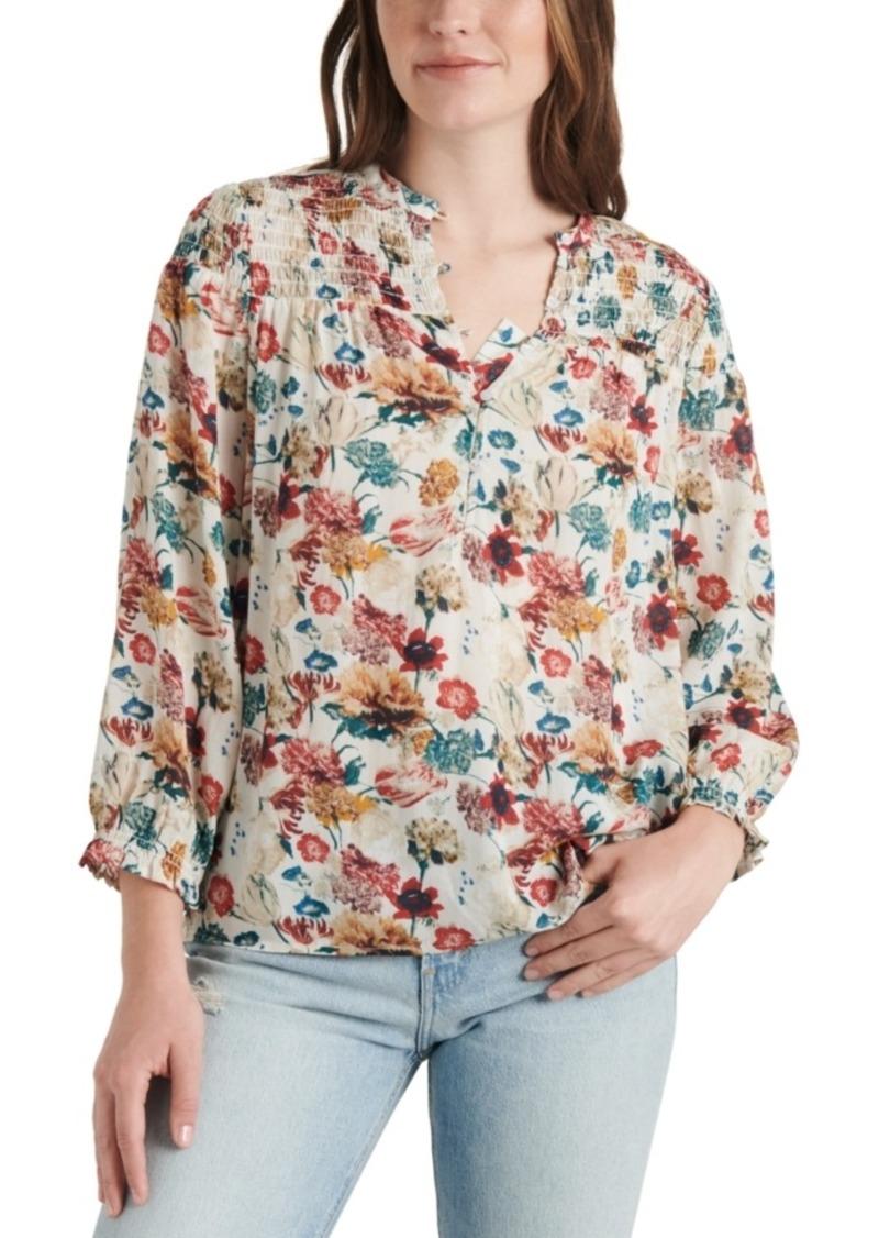 Lucky Brand Printed Smocked 3/4-Sleeve Top