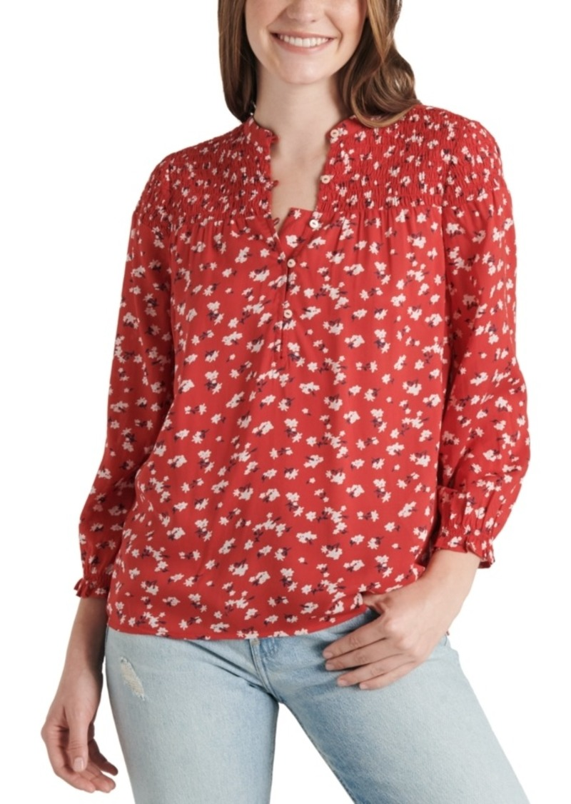 Lucky Brand Printed Smocked Top