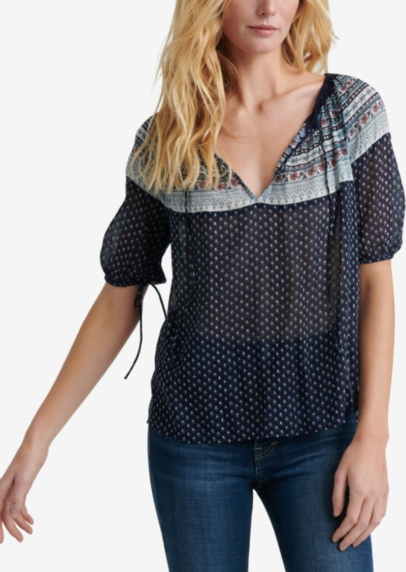 Lucky Brand Printed V-Neck Peasant Top