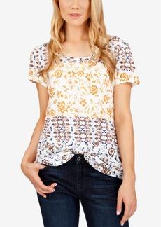 Lucky Brand Printed Zip-Back T-Shirt
