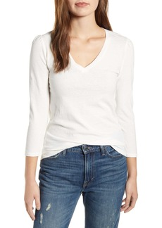 Lucky Brand Puff Sleeve V-Neck Top