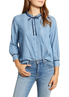 Lucky Brand Quinn Pintuck Cotton Chambray Blouse