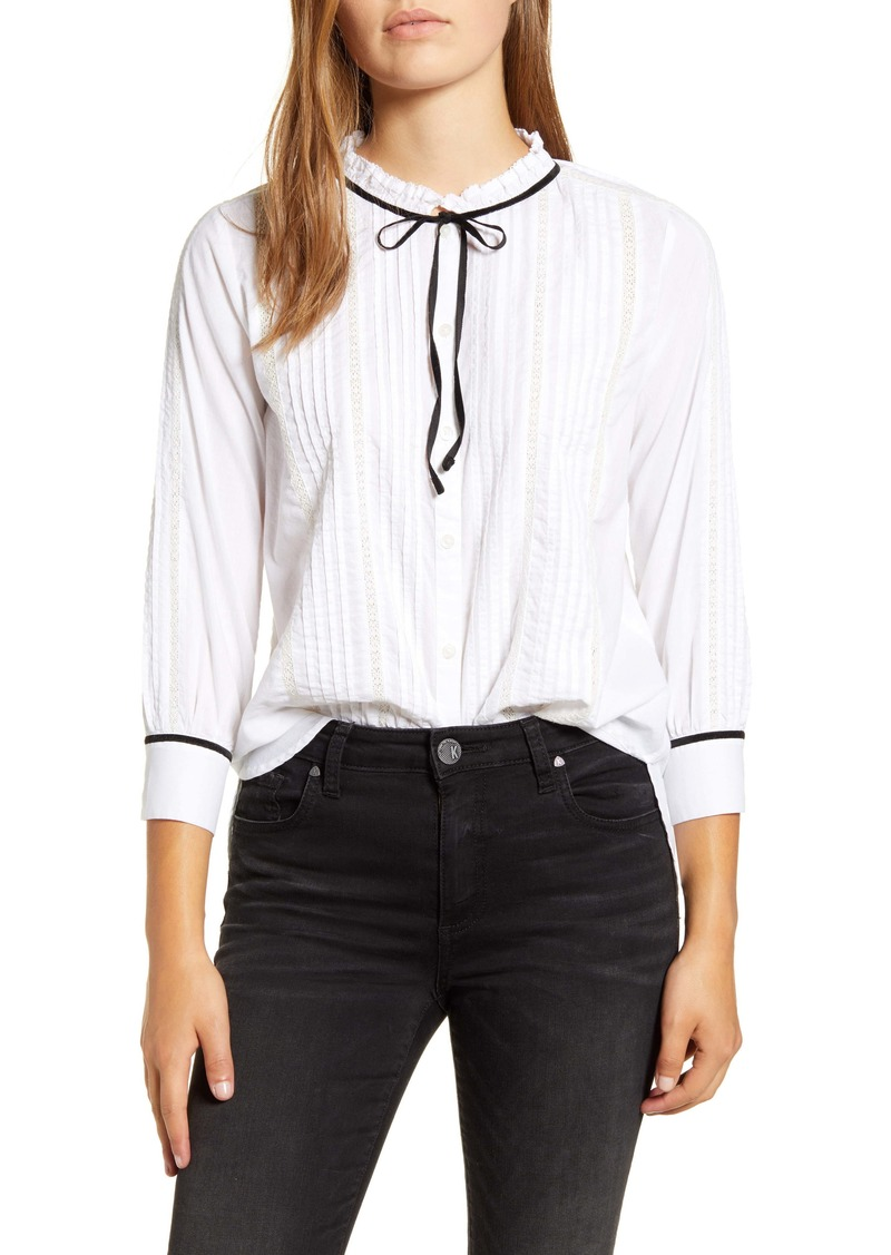 Lucky Brand Quinn Pintuck Tie Neck Cotton Blouse