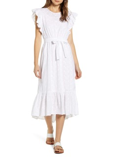 Lucky Brand Reese Flutter Sleeve Embroidered Cotton Dress