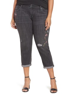Lucky Brand Reese Stretch Embroidered Distressed Boyfriend Jeans (Devotion) (Plus Size)