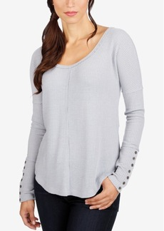 Lucky Brand Ribbed Button-Detail Thermal Top