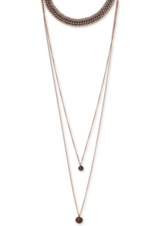 """Lucky Brand Rose Gold-Tone Stone Triple-Layer 12-1/2"""" Choker Necklace"""