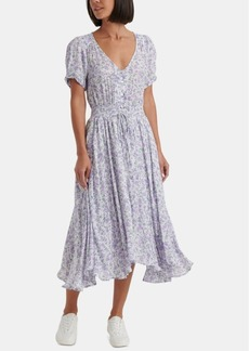 Lucky Brand Roxy Floral Smocked Midi Dress