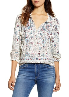 Lucky Brand Ruffle Cuff Print Shirt