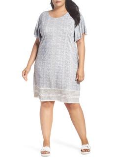 Lucky Brand Ruffle Sleeve Print Shift Dress (Plus Size)
