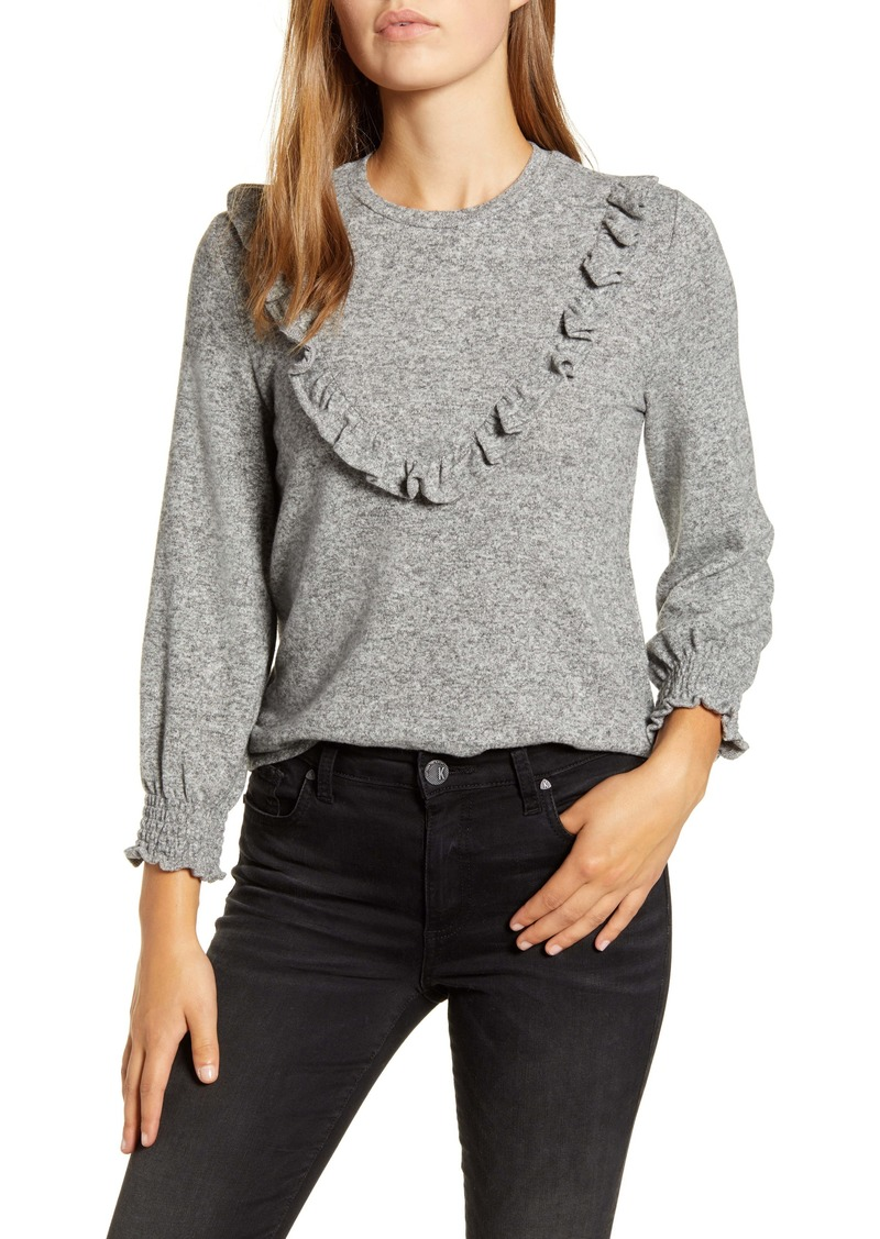 Lucky Brand Ruffle Stripe Cloud Jersey Top