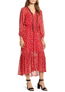 Lucky Brand Ryan Floral Ruffle Hem Georgette Dress