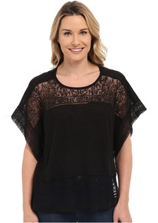 Lucky Brand Scarf Embroidered Top