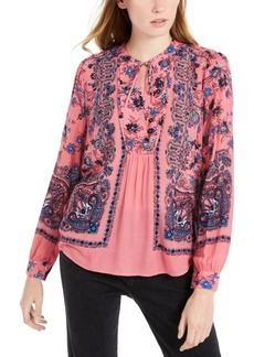 Lucky Brand Scarf-Print Peasant Top