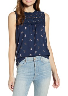 Lucky Brand Shiffly Floral Print Cotton Eyelet Shell