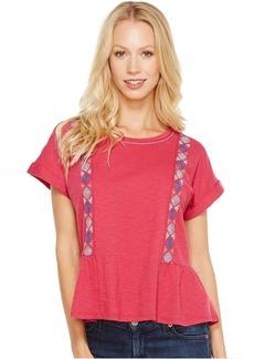 Lucky Brand Short Sleeve Embroidered Peplum Tee