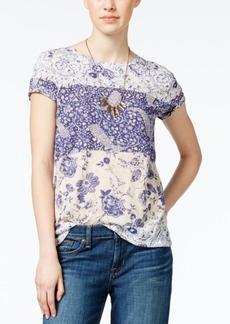 Lucky Brand Short-Sleeve Mixed-Print T-Shirt