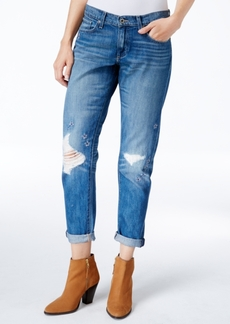 Lucky Brand Sienna Ripped Olympic Blue Wash Boyfriend Jeans