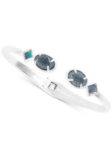 Lucky Brand Silver-Tone Abalone & Geode-Look Stone Cuff Bracelet