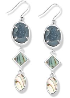 Lucky Brand Silver-Tone Abalone & Geode-Look Stone Triple Drop Earrings