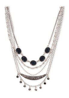 """Lucky Brand Silver-Tone Crystal & Druzy Stone Layered Choker Necklace, 15"""" + 3"""" extender"""
