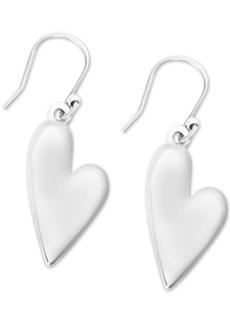 Lucky Brand Silver-Tone Heart Drop Earrings
