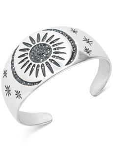 Lucky Brand Silver-Tone Hematite Crystal Sun & Moon Cuff Bracelet