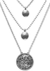 "Lucky Brand Silver-Tone Multi-Strand Necklace, 17""-22"""