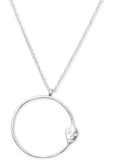 "Lucky Brand Silver-Tone Skull Open Circle Pendant Necklace, 32"" + 2"" extender"
