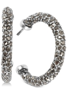 """Lucky Brand Silver-Tone Small Colored Pave C-Hoop Earrings, 1"""""""