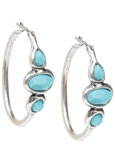 "Lucky Brand Silver-Tone Turquoise 1"" Hoops Earrings"