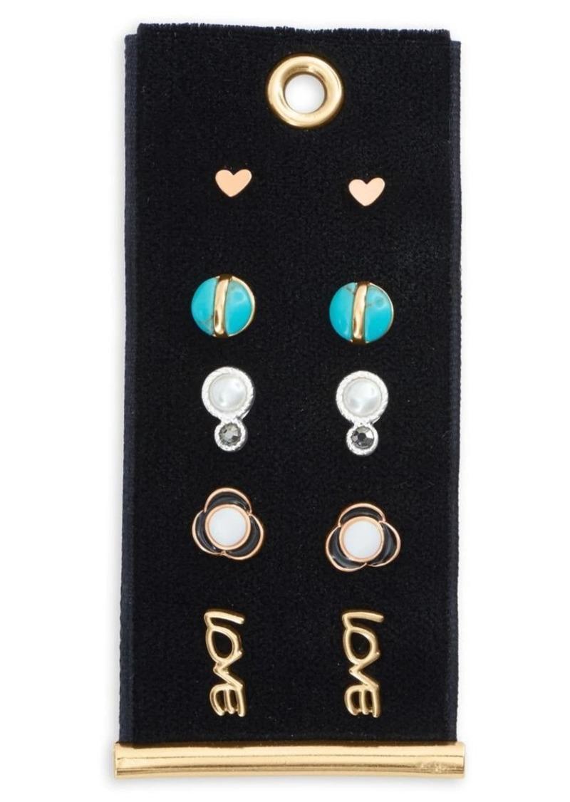 Lucky Brand Silvertone & Goldtone Set-of-5 Stud Earrings