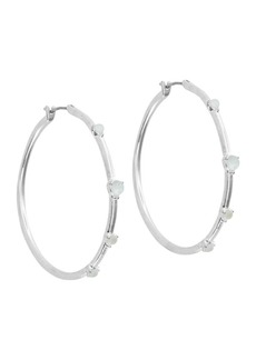 Lucky Brand Silvertone and Mother-of-Pearl Hoop Earrings