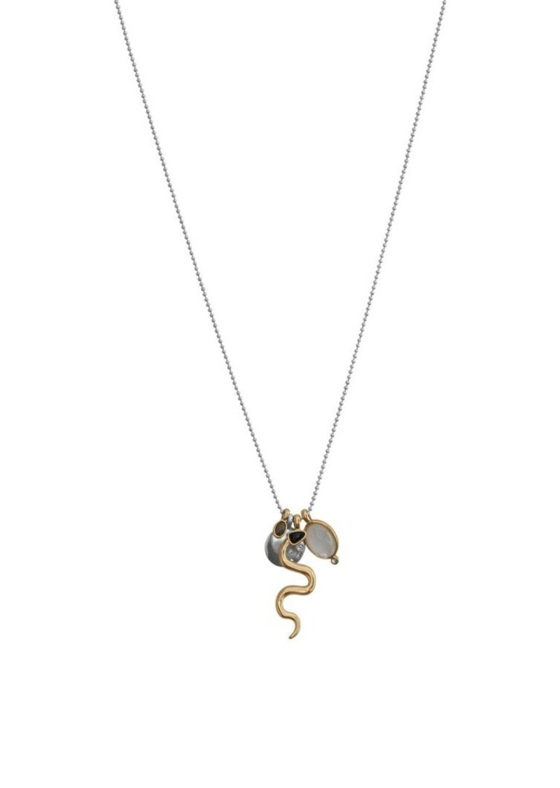 Lucky Brand Silvertone and Mother-of-Pearl Snake Pendant Necklace