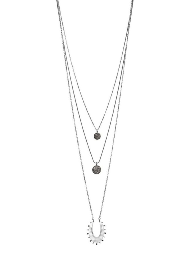 Lucky Brand Silvertone and Opal Layered Necklace