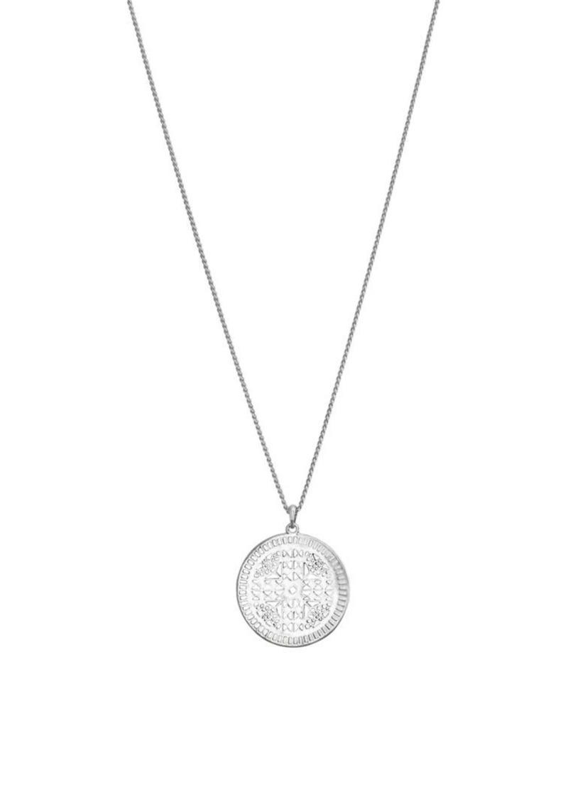 Lucky Brand Silvertone Circular Pendant Necklace