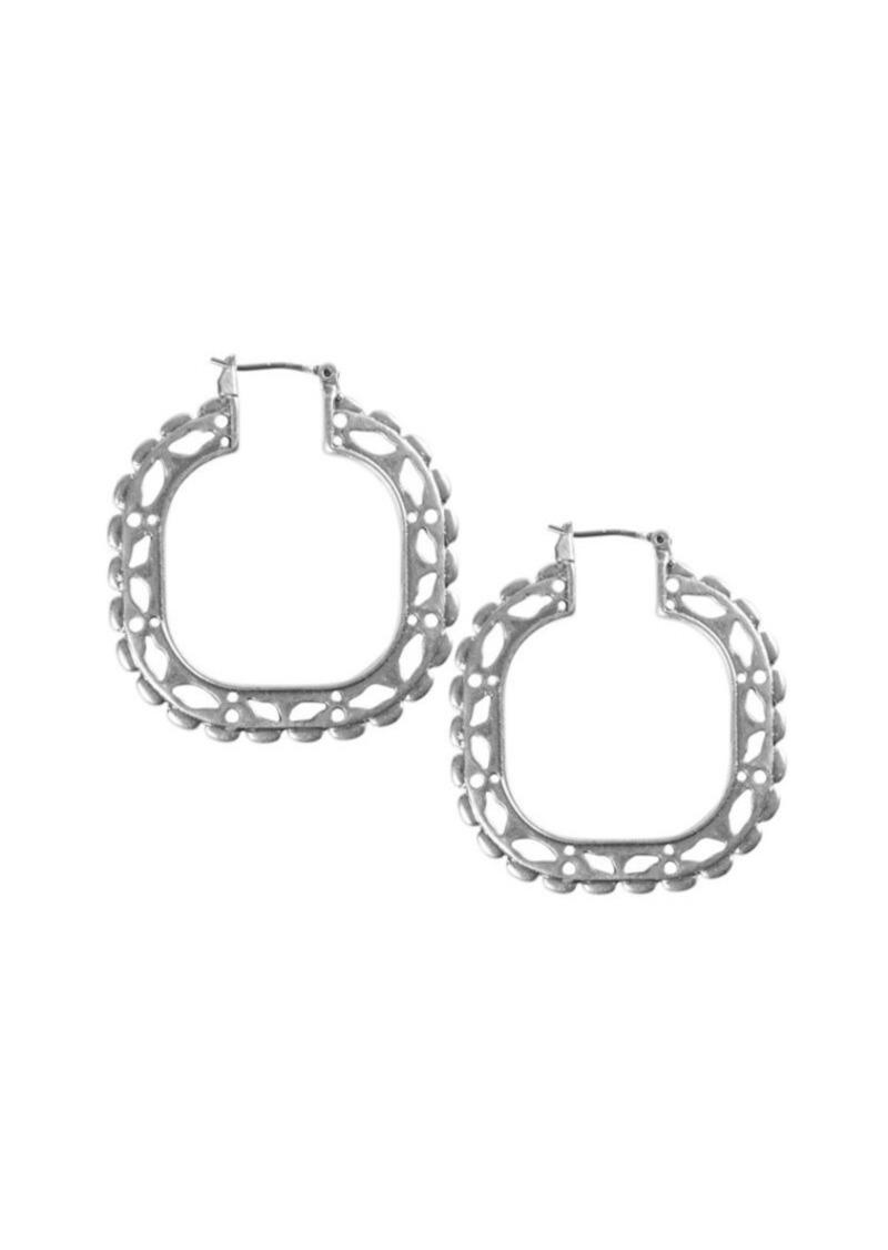 Lucky Brand Silvertone Compass Hoop Earrings
