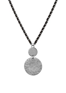 Lucky Brand Silvertone Leather Wrap Chain Circle Pendant Necklace