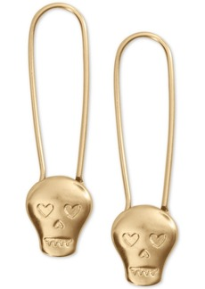 Lucky Brand Skull Safety Pin Drop Earrings