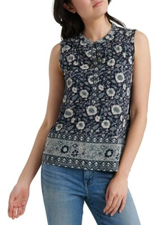 Lucky Brand Sleeveless Border Print Henley Top