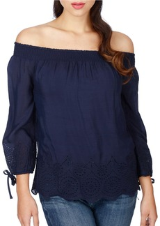 LUCKY BRAND Smocked Crepe Blouse