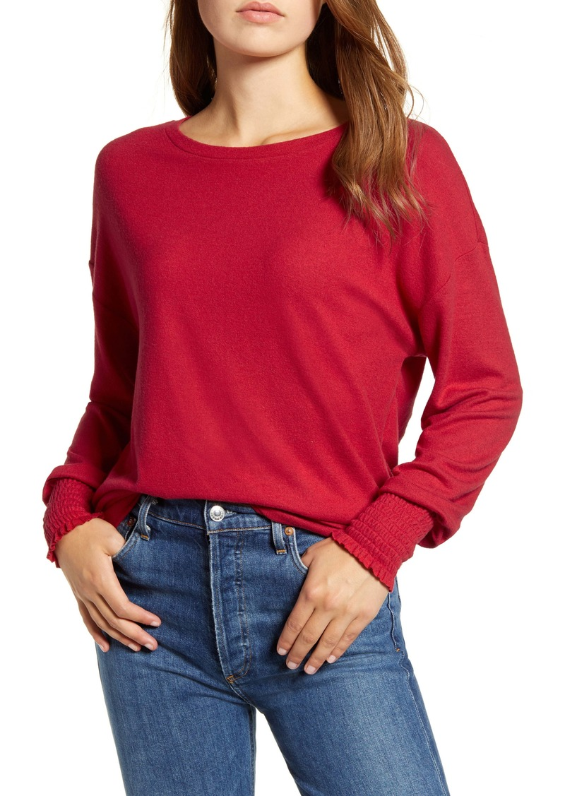 Lucky Brand Smocked Cuff Cloud Jersey Top