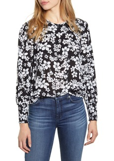 Lucky Brand Smocked Cuff Floral Top