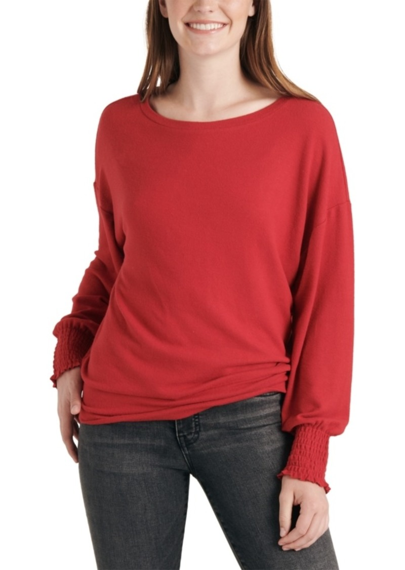 Lucky Brand Smocked-Cuff Top