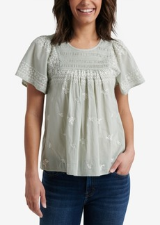 Lucky Brand Smocked Embroidered Cotton Top